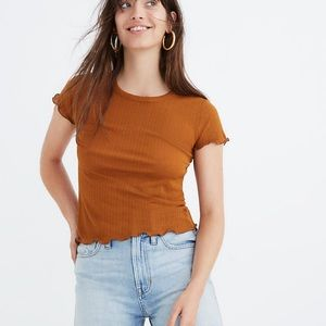 Madewell Orange Fitted Baby Tee